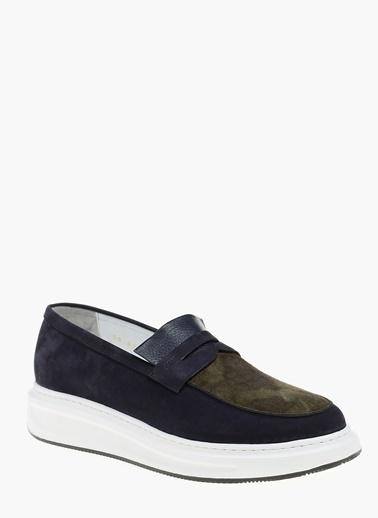 Que %100 Deri Loafer Ayakkabı Lacivert